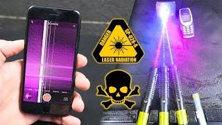 Strongest Handheld Lasers vs iPhone 7 & Nokia 3310!