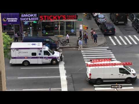 NYU LANGONE MEDICAL CENTER EMS AMBULANCE RESPONDING ON 3RD AVENUE IN KIPS BAY, MANHATTAN, NEW YORK.