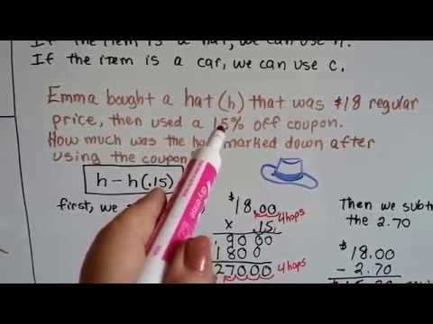 Grade 7 Math #5.2, Calculate Markup or Markdown