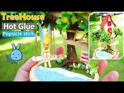 Popsicle stick Tree House Tinkerbell Angels | Awesome Hot Glue DIY Life Hacks for Crafting Art #026