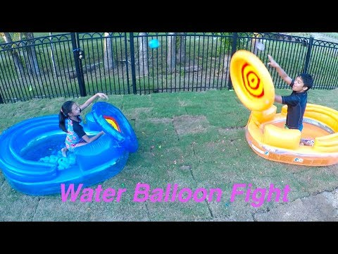 Fun Water Balloon Fight + Cannon Catapult Inflatable Play Pool Combo | Toys Academy