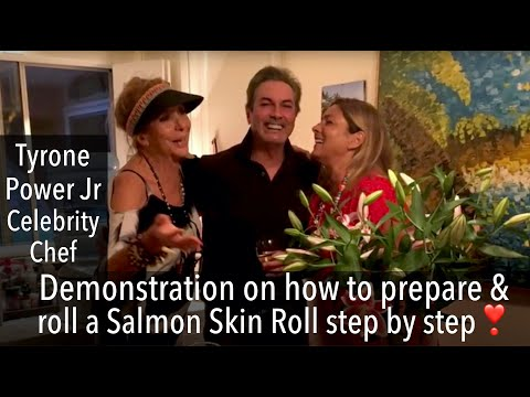 Tyrone Power Jr creates Salmon Skin Roll from his recipe