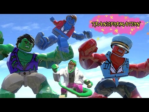 HULK,RED HULK,A-BOMB,CURT CONNORS TRANSFORMATION - LEGO MARVEL SUPER HEROES GAME