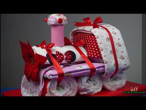 How to Make an Adorable Choo Choo Train Diaper Cake - Baby Shower Gift Idea
