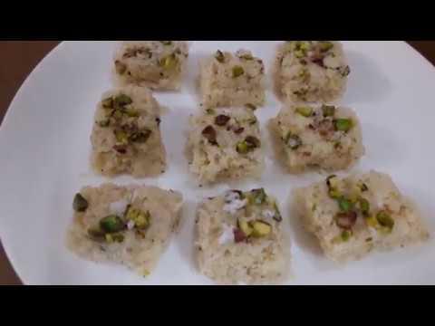 Coconut Burfi  using Condensed milk - Microwave oven