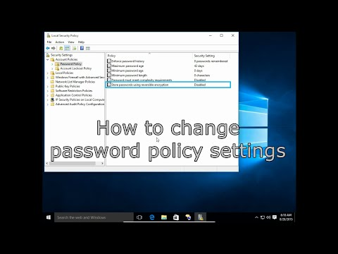 How to change password policy settings in MS Windows