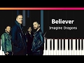 "Imagine Dragons - ""Believer"" EASY Piano Tutorial - Chords - How To Play - Cover"