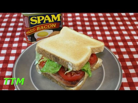 How to Make a Fried Bacon Spam Sandwich~Spam with Bacon Review