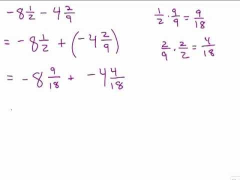 Add & Subtract Negative Mixed numbers unlike denominator