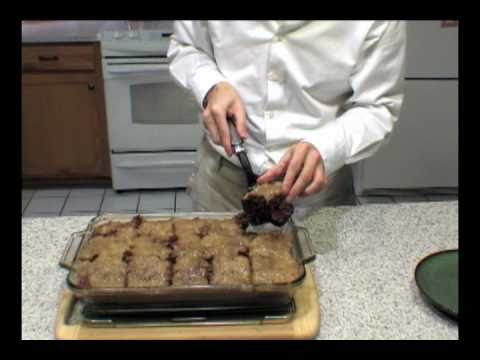 How to bake a german chocolate cake topped with pecan icing