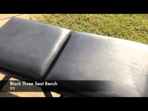 Black Three Seat Entryway Bench