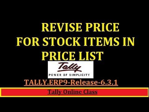 Revise Price Of stock items in Price List- Tally.erp9- (Inventory Feature)