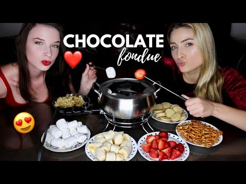 CHOCOLATE FONDUE MUKBANG!! ❤️ Happy Valentine's Day ❤️