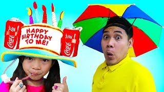 Download Emma & Jannie Pretend Play Funny Hats Challenge Kids Toys and Colors Video