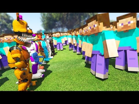 ANIMATRONICS vs HUGE MINECRAFT ARMY! (GTA 5 Mods FNAF Funny Moments)