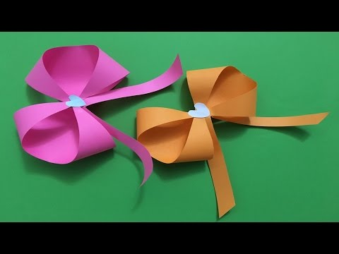 How to make an easy beautiful Origami paper Bow tutorial/Ribbon Origami Bow Folding Instructions