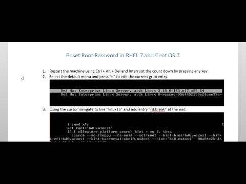Reset root password in RHEL 7 and CentOS 7