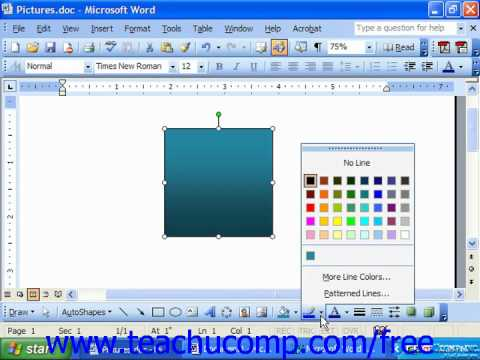 Word 2003 Tutorial Applying Line Color Microsoft Office Training Lesson 14.5