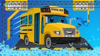 School bus   car wash   childrens cartoon street vehicles
