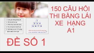 150 CÂu HỎi Thi BẰng LÁi Xe HẠng A1   ĐỀ SỐ 1