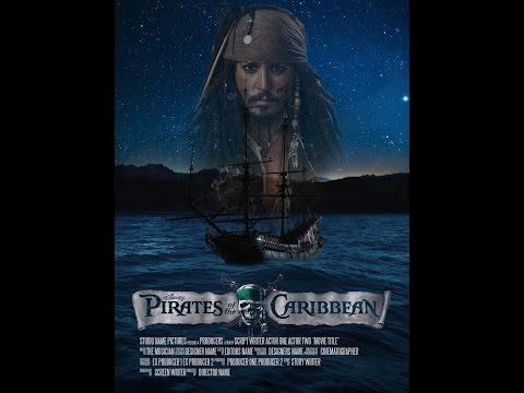 Pirates of the Caribbean movie poster in photoshop cc 2014