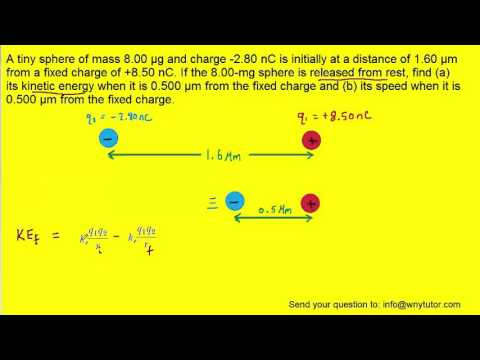 A tiny sphere of mass 8.00 µg and charge -2.80 nC is initially at a distance of 1.60 µm from a fixed