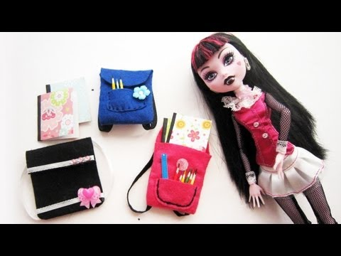 How to Make DIY Miniature Backpack for Monster High / Barbie