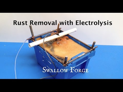 Rust Removal with homemade Electrolysis Tank. Blacksmith tools: Swallow Forge