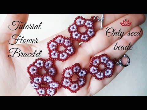 Beaded flower bracelet (only seed beads) - tutorial