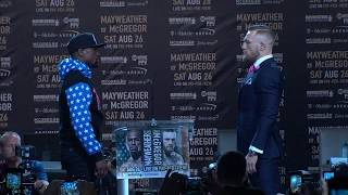 floyd mayweather and conor mcgregor have first staredown espn
