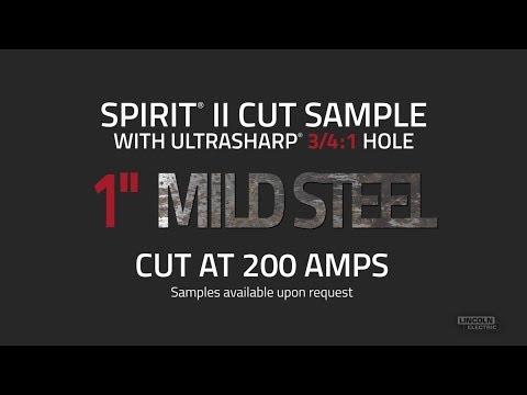"""Spirit® II Plasma Cut Sample with UltraSharp Hole, 1"""" Mild Steel Cut at 200 AMPS"""