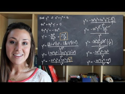 Use implicit differentiation to find the second derivative of y (y'') (KristaKingMath)