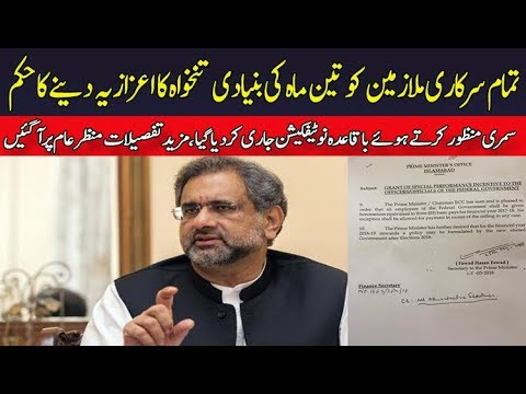 PM Abbasi Approves Honorarium of 3-Month Basic Pay for Govt Employees