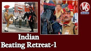 Indian Beating Retreat At Wagah Border | Independence Day Celebrations | V6 Telugu News