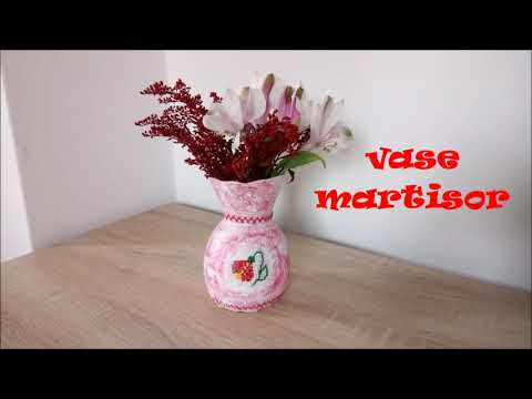 Make a vase with romanian martisor Tutorial/DIY Motifs Traditional/ Recycled Plastic Bottle Craft