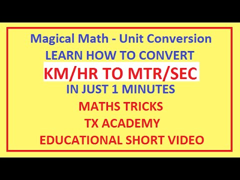 Magical Math - Unit Conversion - KM/HR Into MTR/SEC IN JUST 1 MINUTES