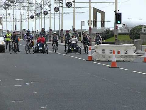 Oldham wheels for all manchester to Blackpool sponsored cycle ride 2012 @ the finish line