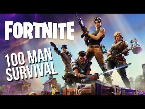 FORTNITE - 100 MAN SURVIVAL BATTLE ROYALE! (Fortnite Gameplay)