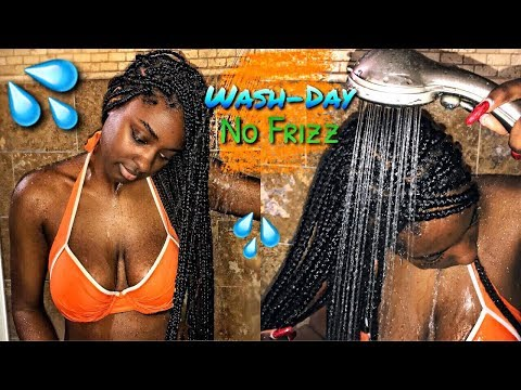 Box Braid Series: How to WASH Box Braids, NO FRIZZ | alexuscrown
