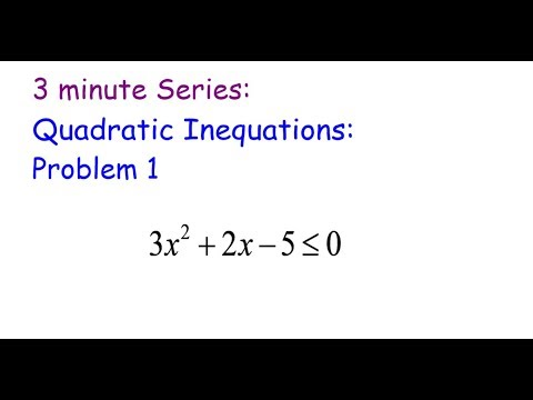 3 Minute Series: Quadratic Inequations