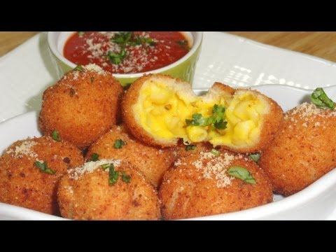 Fried Mac & Cheese Balls Pops or Baked & Eggless? Video recipe by Bhavna