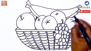 how to draw fruit basket learn to draw fruit basket fruite basket fruits
