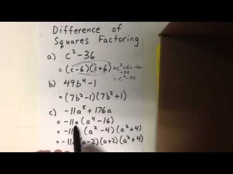 Difference of squares factoring examples