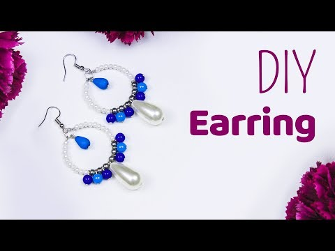 DIY Instant hoop earrings ( Easy ) | How to make jewelry at home | Beads art