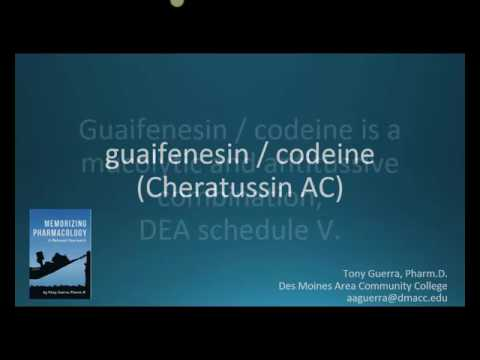 How to pronounce guaifenesin with codeine (Cheratussin AC) (Memorizing Pharmacology Flashcard)