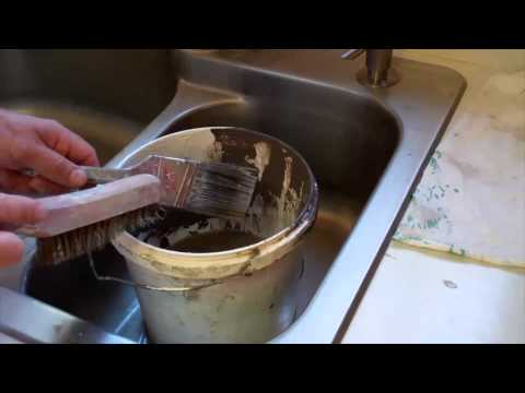 Cleaning a Paint Brush in a Sink (latex paint)