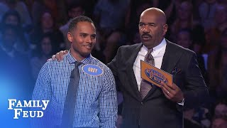 Grey needs 26 points with his final answer for $20,000! | Family Feud