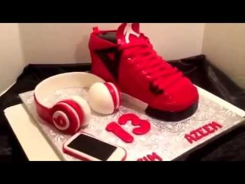 Jordan sneaker cake with beats and iPhone .#cakebossofchester on Fb or jjsweettooth.com