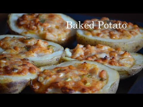Stuffed Baked potato with cheese, Baked Beans, Spring Onions.
