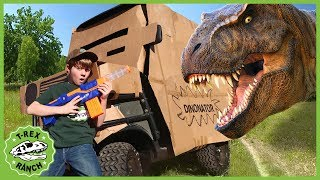 Download Dinosaur Box Fort Escape! Giant T-Rex Nerf Battle & Adventure with Toy Dinosaurs For Kids Video